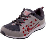 Just Go Men Durable Fancy Grey Red Sports Running Shoes